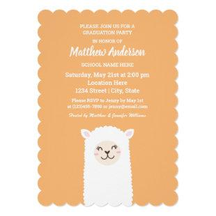 Kawaii Alpaca Graduation Invitation