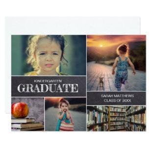 Kindergarten Graduation Photo Collage Announcement