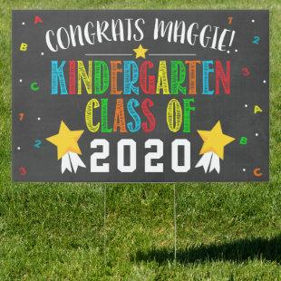 Kindergarten Graduation Sign Primary Colors