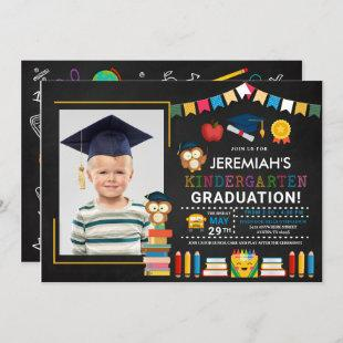 Kindergarten Photo Graduation Chalkboard Invitation