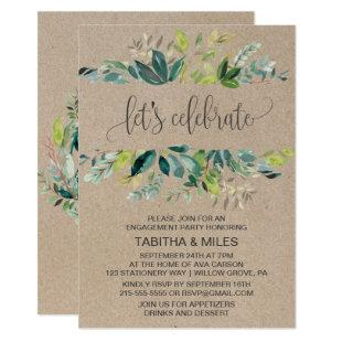 Kraft Foliage Let's Celebrate Engagement Party Invitation