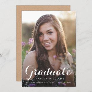 Kraft Paper Country Photo Trendy Graduation Party Invitation