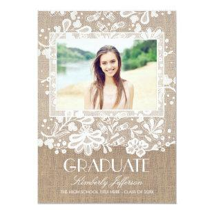 Lace and Burlap Elegant Photo Graduation Party Invitation