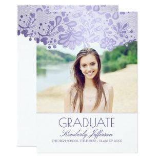 Lace Lavender Purple Photo Graduation Party Invitation