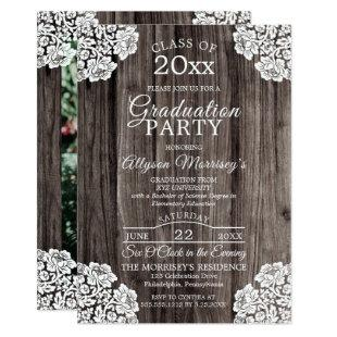 Lace | Rustic Wood Photo College Graduation Party Invitation
