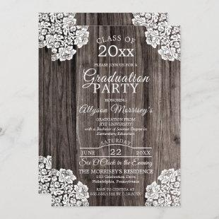 Lace | Rustic Wood Photo College Graduation Party