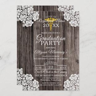 Lace Wood Photo Nursing School Medical Graduation Invitation
