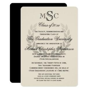 Laurel Wreath Monogram Classic College Graduation Invitation