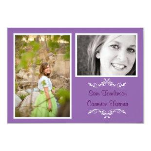 Lavender 2 Photo Simple Collage -3x5 Grad Announce Invitation