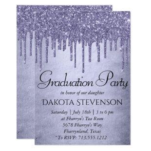 Lavender Drip Graduation | Purple Chic Script Invitation