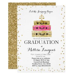 Law Graduation Party Invitation Pink Gold confetti