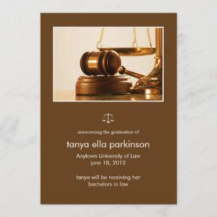Law Major Gavel Graduation Announcement