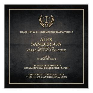 Law School Graduation Announcement | Black