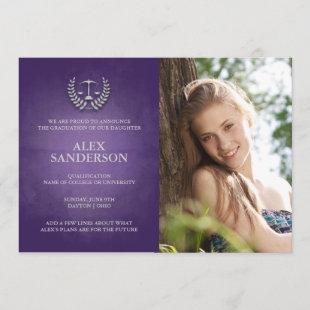 Law School Graduation Announcement Photo Card