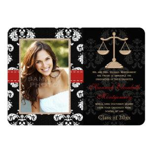 Law School Graduation Announcements Invitation Red