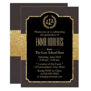 Law School Graduation Elegant Brown & Gold Lawyer Invitation