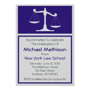 Law School Graduation Invite (Blue Justice Scales)