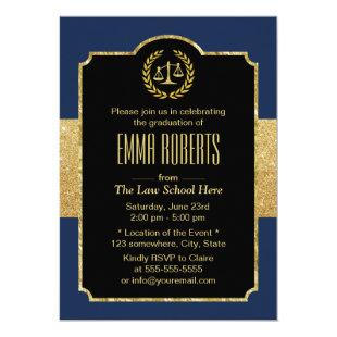 Law School Graduation Navy Blue & Gold Lawyer Invitation