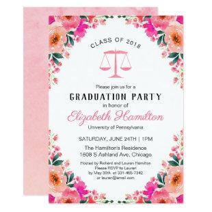 Law School Graduation Party Hot Pink Floral Invitation