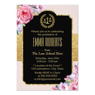 Law School Graduation Vintage Floral Future Lawyer Invitation