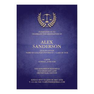 Law School Graduation with Laurel Wreath & Scales Invitation