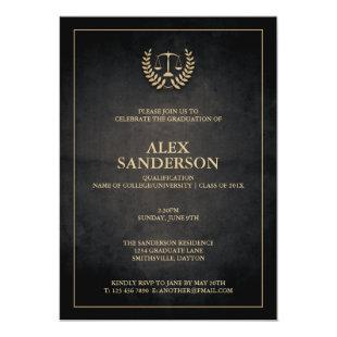 Law School Laurel Wreath & Scales Graduation Invitation