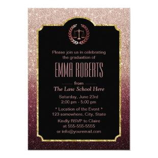 Law School Lawyer Graduation Rose Gold Ombre Invitation
