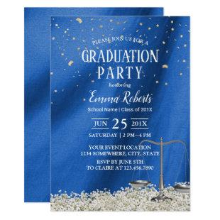 Law School Navy Blue Future Lawyer Graduation Invitation