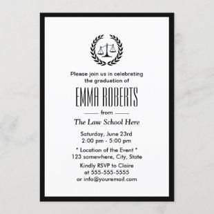 Law School Simple Plain Black Border Graduation Invitation