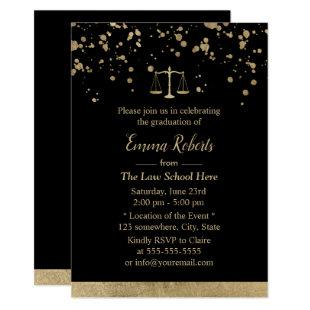 Lawyer Law School Graduation Modern Gold Splatters Invitation