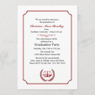 Lawyers Corner Red Graduation Invitation