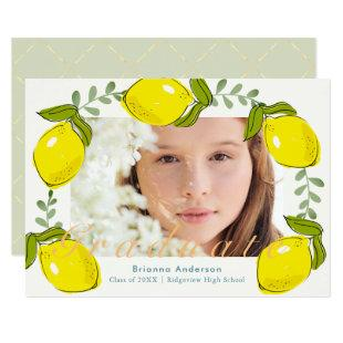 Lemon Citrus Wreath Photo Graduation Invitation
