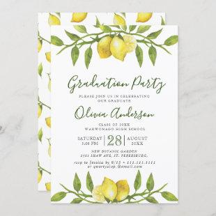 Lemons Blossom Greenery Chic Graduation Party Invitation