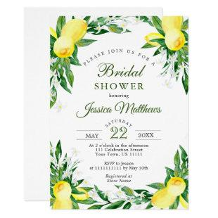Lemons Blossom Greenery Watercolor Bridal Shower Invitation