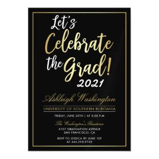 Let's Celebrate The Grad! | Gold Black Graduation Magnetic Invitation