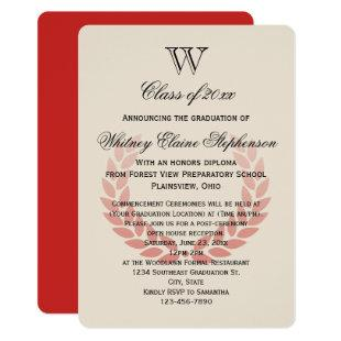 Letter Monogram Classic Red College Graduation Invitation