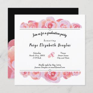 Light Pink Rose Graduation Invitations