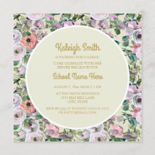 Lilac Pink Watercolor Floral Sage College Trunk Invitation