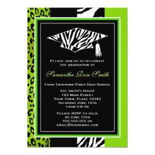 Lime Green Zebra and Leopard Print Graduation Invitation