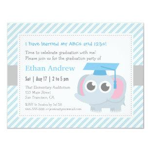 Little Elephant Kids Kindergarten Graduation Party Invitation
