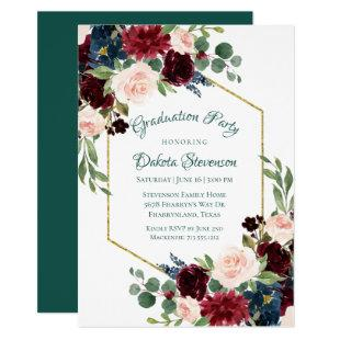 Love Bloom | Bold Floral Gold Frame Graduation Invitation