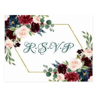 Love Bloom | Bold Green Floral Gold Frame RSVP Postcard