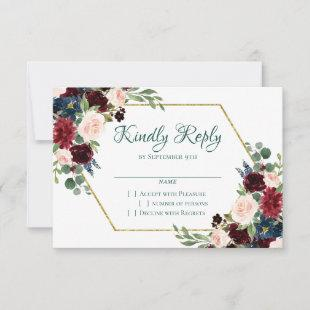 Love Bloom | Bold Green Floral Gold Frame Wedding RSVP Card