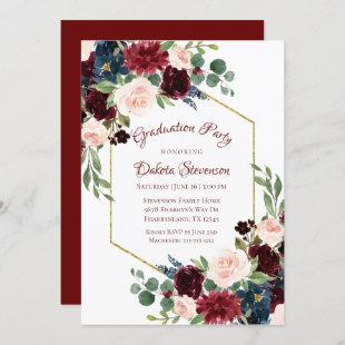 Love Bloom | Elegant Burgundy Floral Gold Frame Invitation