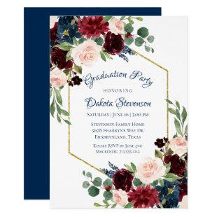 Love Bloom | Rustic Blue Red Floral Graduation Invitation
