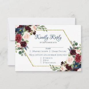 Love Bloom | Rustic Navy Blue Burgundy Red Entree RSVP Card