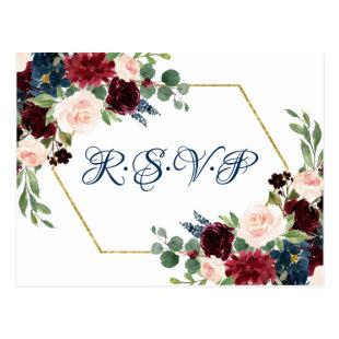 Love Bloom | Rustic Navy Burgundy Wreath RSVP Postcard