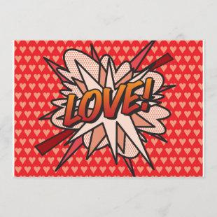 LOVE Fun Retro Comic Book Pop Art Invitation
