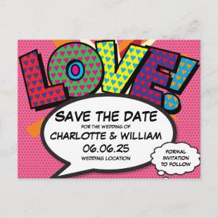 LOVE Save the Date Fun Retro Comic Book Pop Art Announcement Postcard