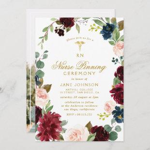 lovely burgundy navy floral Nurse pinning ceremony Invitation